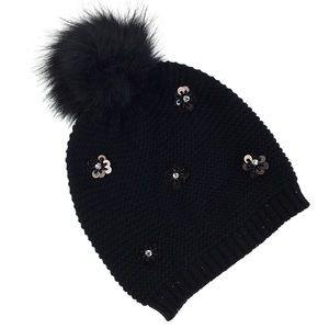 Neiman Marcus | Pom Beanie Hat Black NWT
